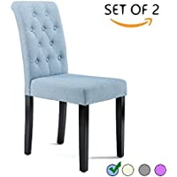 DAGONHIL Button-tufted Upholstered Fabric Dining Chairs, Set of 2 (Blue)