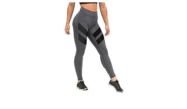 HARRYSTORE Mujer de secado rápido pantalones de yoga perspectiva de bragas huecos Mujer Pantalones elásticos Leggings