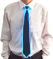 Xrten LED Light Up Ties Flashing Luminous Necktie Costume Accessory for Christmas Halloween Carnival Party -Bl