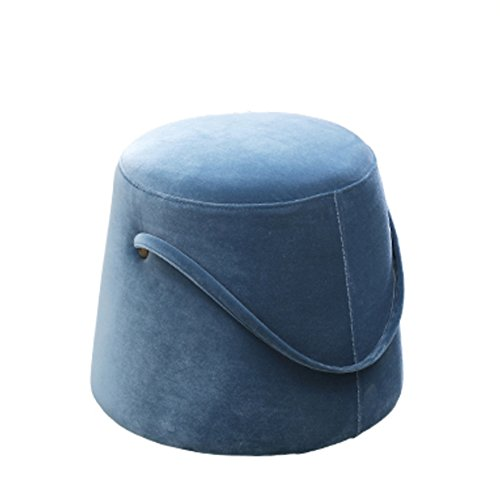 (HM&DX Ottoman Footstool Pouf,Velvet tufted Footstool Round Upholstered Footrest stool Nordic Sofa stool With Handle-blue)