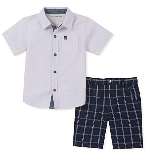 Calvin Klein Boys' Toddler 2 Pieces Shirt Shorts Set, Navy Plaid, -