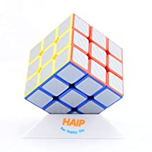 Puzzle Cube, Haip 3x3x3 Carbon Fiber Sticker Speed Smooth Magic Cube Puzzle Cube sliver (Base Holder Included)