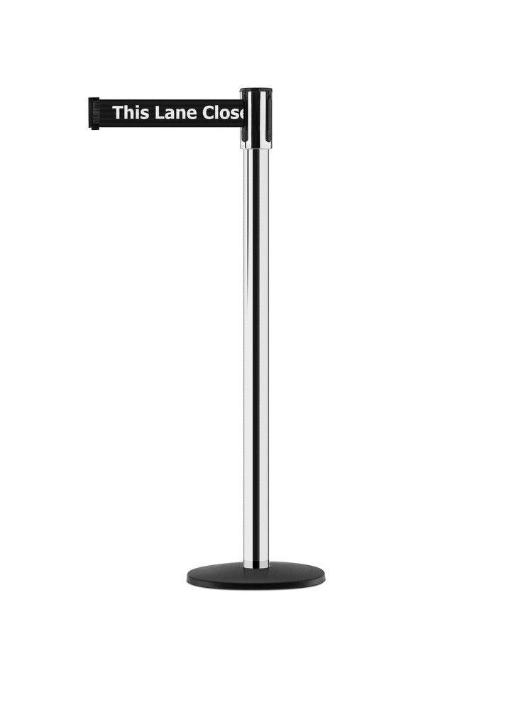 Tensabarrier - 890B-33-1P-1P-STD-NO-BDX-C - polished chrome post, 2'' wide, 7'6'' length blk This Lane Closed belt