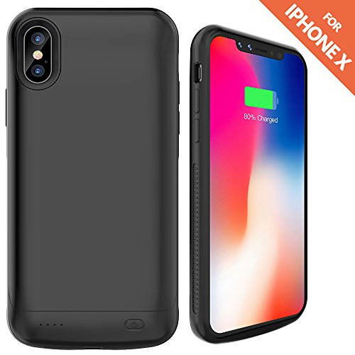 iPhone X Battery Case,Ruky 6000 mAh Rechargeable Extended Battery Charger Protective Case Power Pack for Apple iPhone X 5.8-inch - (Black)