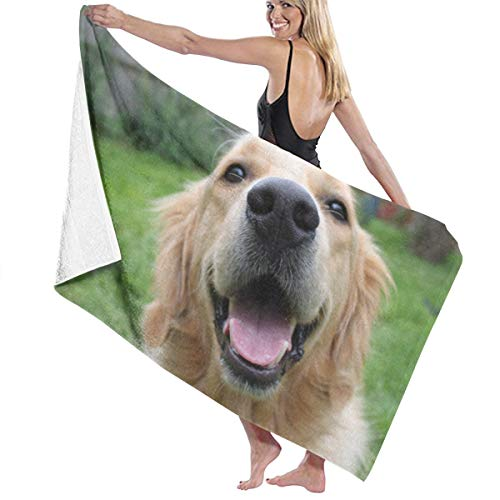 DCIZliIWcm Golden Retriever Dog Smile Beach Towels Polyester Quick Dry Soft Bath Sheets,Summer Cool Swim Large Bath Towels for Yoga Mat Beach Cover Blanket 31.5
