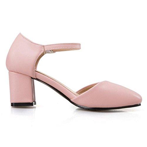 RAZAMAZA Mujer Moda Zapatos de Tacon Ancho Correa de Tobillo Verano Pink