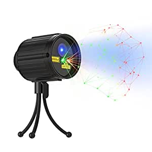 Laser Light with RF Wireless Remote Outdoor Waterproof 8 Pattern Green & Red Star Laser Light for Holiday, Party, and Patio Lawn Yard Garden Decoration