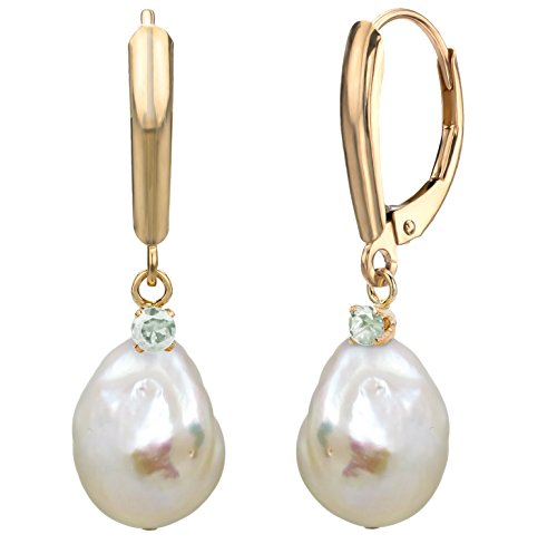 (14k Yellow Gold 1/10cttw diamond 12-13mm White Off-shape Freshwater Cultured Pearl Lever-back Earrings)