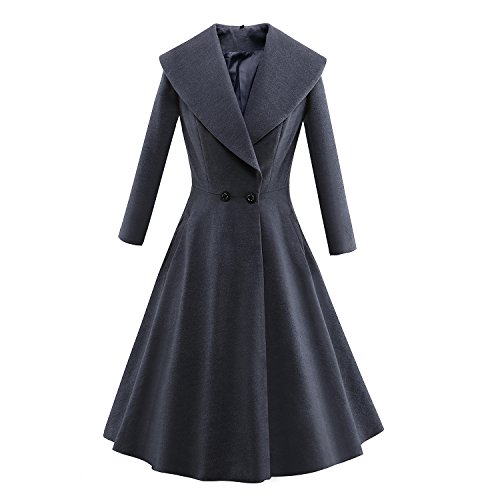 Women Wool Blends Coat Trench Coat Long Jacket Outwear V Collar Overcoat (Collar Trench Coat)