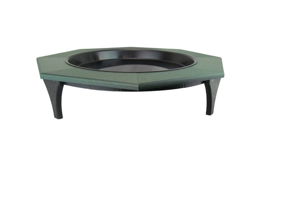 JCs Wildlife Ground Garden Green Poly Lumber Low Profile Bird Bath 16 inch