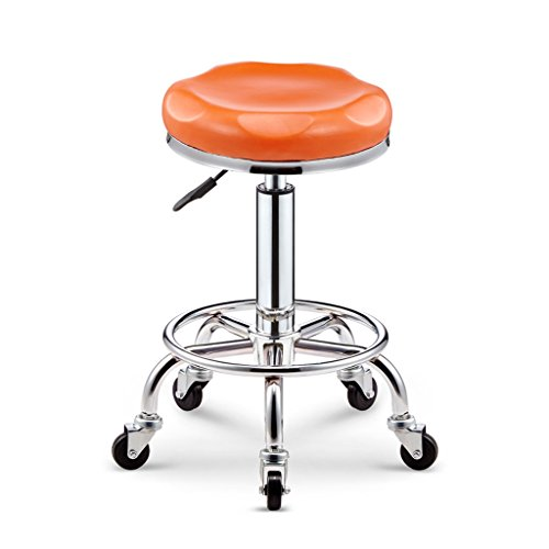 XLZ Work Stool, Task Chair, High Bench, Thick Cushion Disc Footrest 5 Rotations Suitable for Clinic Laboratory Spa Lift 45-56cm 7 Colors Footrest,Breakfast bar Stool (Color : Orange)