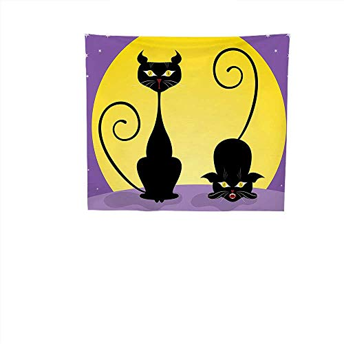 QINYAN-HOME Decorative Wall Tapestry (27W x 27W Inch Decor BeddingCat Decor Two Black Kitties in Front Full Moon Starry Night Halloween Image Violet Yellow -