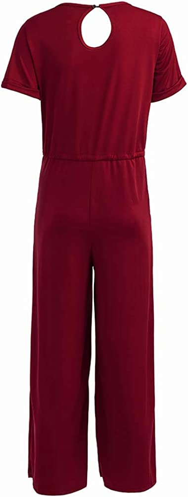 Longwu Mujeres Verano Casual Mangas Cortas con cord/ón Cintura Larga Pantalones Sueltos Monos Mamelucos Trajes con Bolsillos