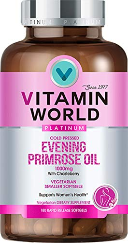 Vitamin World Platinum Evening Primrose Oil 1000 mg. 180 Softgels, Cold Pressed, with Chasteberry, Women's Health, Vegetarian by Vitamin World (Image #4)