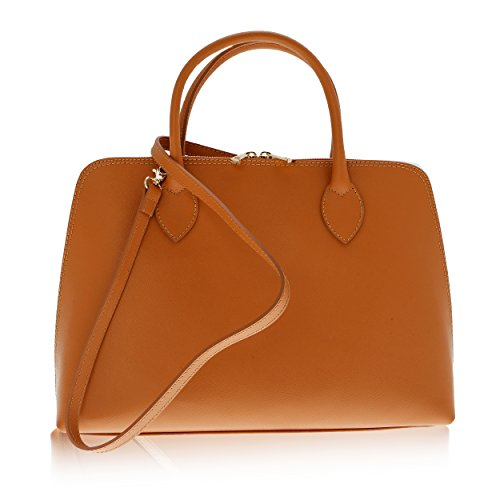 Cuir Femme cm pour Main 37 à Made 12 Florence Véritable Sac Orange in 27 xqB6Fw0t1