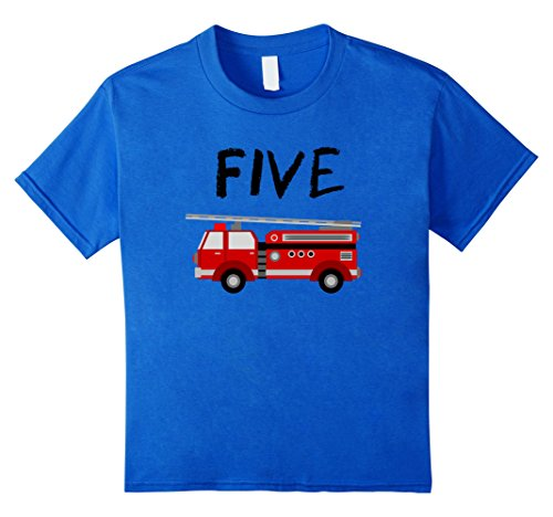 Kids 5 Year Old Fire Truck Birthday Party 5th Birthday T-Shirt ()