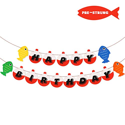 Yaaaaasss! Fishing Happy Birthday Bobber Banner Little Fisherman Kids Party Decoartion]()