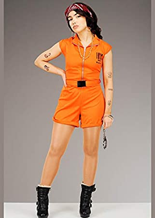 Magic Box Disfraz de preso convicto Naranja Lindo para Mujer Small ...