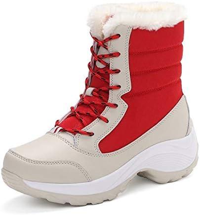 暖かい雪のブーツ太い豪華なラウンドヘッドの低ヒールストラップ防水耐寒ファブリック長い管の綿のブーツでカラーステッチ (色 : 赤, サイズ : 24 CM)