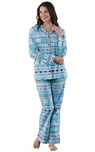 PajamaGram Fair Isle Flannel Button-Front Women's Pajamas, Turquoise, XSM - Piece Button Flannel Pajamas 2