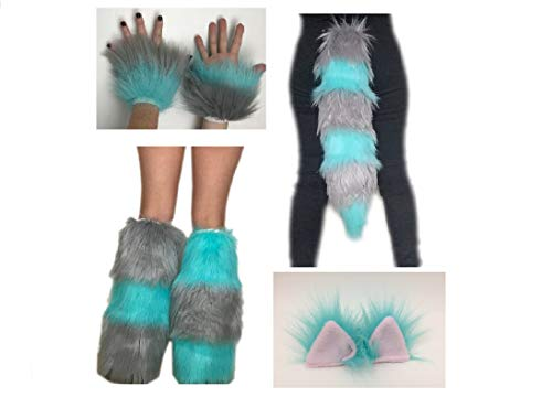 Bianna Creations Cheshire Cat Blue and Grey Costume, Kids and Adults, YOU CHOOSE Ears Tail Wrist Cuffs Boot Covers, Faux Fur, Animal Pet Play Combo, Fuzzy Fluffies Set ()