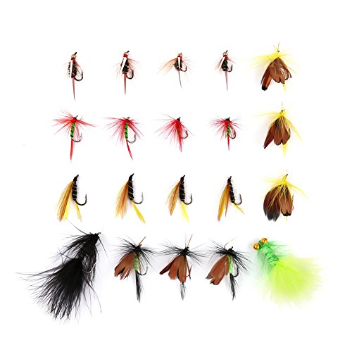 LotFancy 20PCS Dry Wet Flies Fly Fishing Kit - Nymph Flies, Woolly Bugger Flies, Streamers, Caddis Fly Assortment for Trout Bass (Wet Fly Fishing)