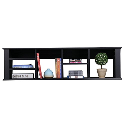 Topeakmart 48'' Wall Mounted Floating TV Media Console Floating Desk Hutch Storage Cabinet Bookshelves - w/7 Storage Compartments (Black)