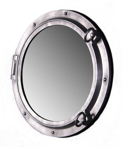 (Nautical Tropical Imports Porthole Mirror 24 Inch Aluminum Fiberglass Resin Wall Mount)