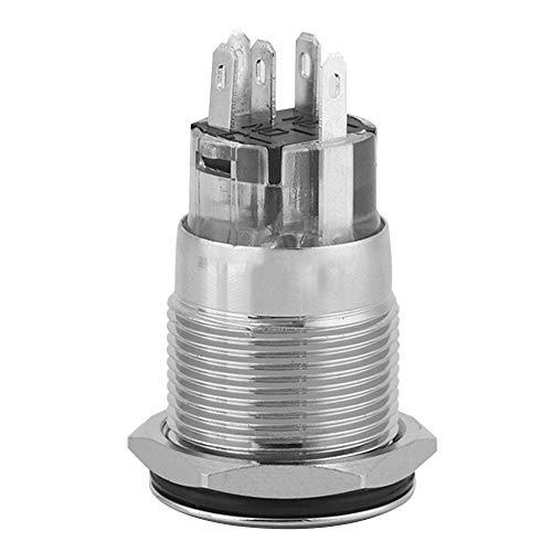 瞬時ボタンスイッチ、40ピース24V LEDライト5ピンIP65防水19mmメタルオートリセットNO + NC + C電磁スターターリレー用プッシュボタンスイッチ(緑)