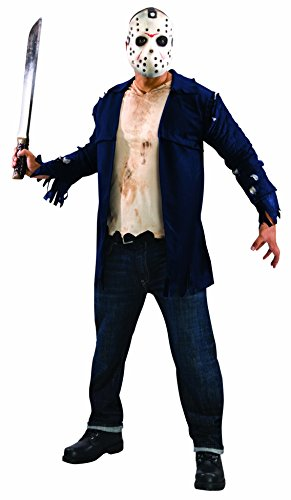 Rubie's Costume Co Men's Friday the 13th Deluxe Jason Costume Shirt and Mask, Black, -