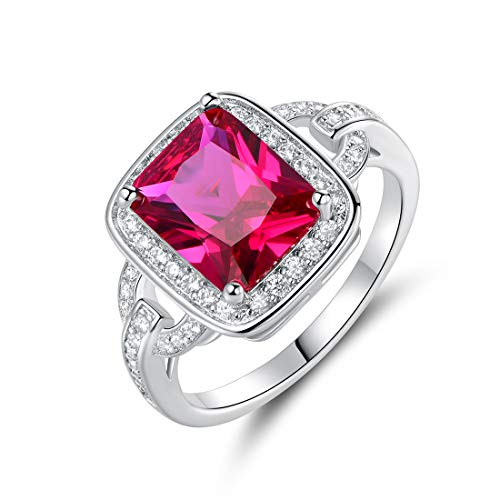 - Barzel 18k White Gold/Rose Gold Plated Created Ruby Cubic Zirconia Statement Ring (Ruby, 6)