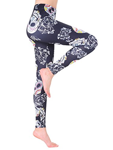 Stretch Noir Multicolore Leggings Imprimé Femmes Fitness Amoretu Pantalon Gym p5qw87