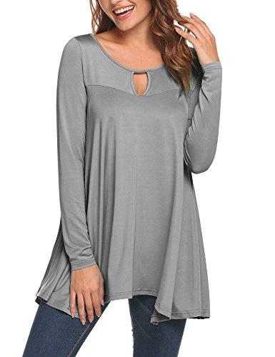 UNibelle Women's Long Sleeve Tunic Keyhole Neck Loose Casual Tunic Shirt Top (S, Grey)