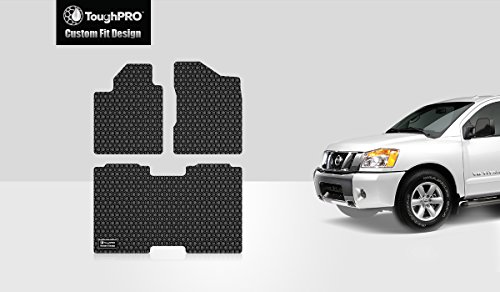 ToughPRO Floor Mats Set (Front Row + 2nd Row) Compatible with Nissan Titan (Crew Cab) - (Made in USA) - Black Rubber - 2004, 2005, 2006, 2007, 2008, 2009, 2010, 2011, 2012, 2013, 2014, 2015