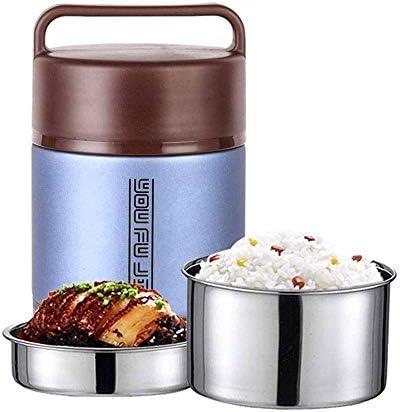 Waxfhzz 子供の大人のための食品フラスコステンレス鋼の熱スープフラスコ、昼食のためのBPAフリーの断熱容器、ポータブル漏れ防止熱真空ボトル、弁当スタイルのランチソリューションオファー耐久性 (Color : Blue, Size : 2L)