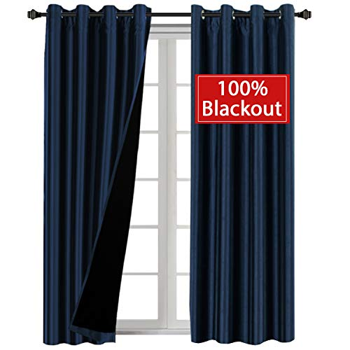 100% Blackout Lined Curtains Thermal Insulated Extra Long Faux Silk Window Treatment with Black Liner Backing 2 Panels, Full Light Blocking Drapery Panels for Patio, W52 x L108 inch - Navy ()