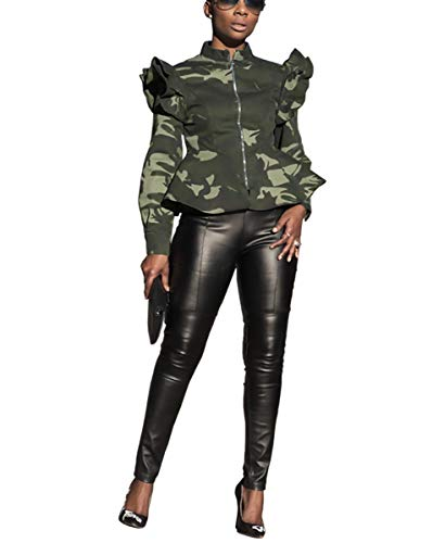 (Mycherish Womens Sexy Military Jacket High Neck Ruffle Long Sleeve Front Zip Camo Jackets Camouflage Coat Green S )