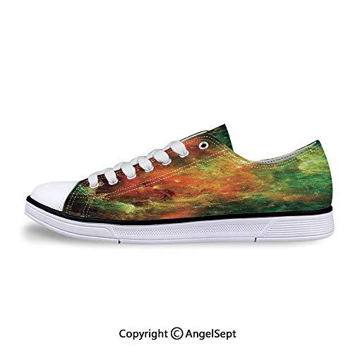 Low Top Rubber Sole Canvas Shoes Pelican Nebula Gas Cosmic Planetary Sneaker Cosmic Flat Back Rhinestones