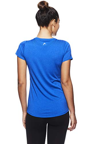 HEAD Women's Brianna Shirred Short Sleeve Workout T-Shirt - Marled Performance Crew Neck Activewear Top - Brianna Nautical Blue Heather, X-Small by HEAD (Image #3)