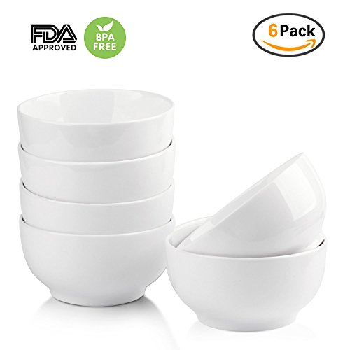 Kids Rice Bowl - 4.5 Inch White Porcelain Bowls,OAMCEG Set of 6 10-Ounce Ceramic Bowl for Cereal, Salad, Dessert,Rice,Soup - Oven Safe/Dishwasher Safe