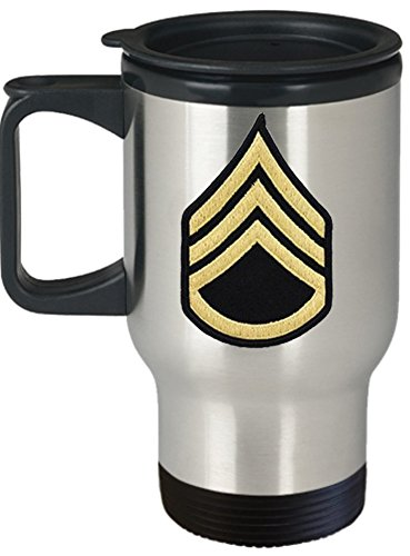 Army Travel Mug - 14 oz Stainless Steel - Staff Sergeant (SSG) - Personalized with Custom Text and Rank - Military Gift for US Army Soldier (Rank - Staff Sergeant, SSG, E6)