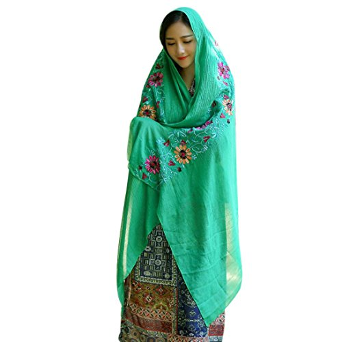 Gift for Friends, Egmy 1PC Winter Women National Embroidery Sarong Wrap Shawl Style Scarves (Green)