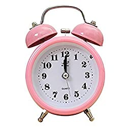 SODIAL(R) Portable Fashion Classic Silent Double Bell Alarm Clock Quartz Movement Bedside Night Light Best Quality£¨pink£