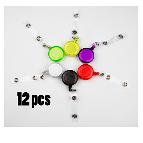 ALL in ONE 12pcs Mixed Color Round Reel Retractable Badge Id Card Key Name Tag Holders with Belt Clip 6 Colors (Transparent Colors 12pcs)