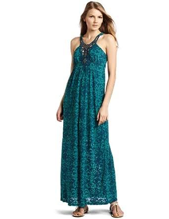 Testament Women's Applique Maxi Dress, Aqua, X-Small