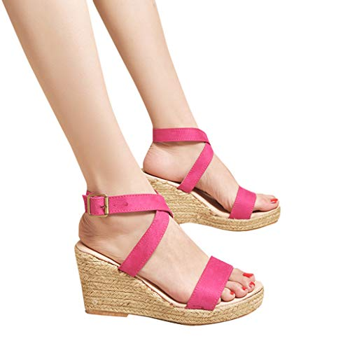 Amlaiworld Women Summer Sandals Casual Roman Shoes Open Toe Wedge Buckle Strap High Heel Platform Sandals Wedding Shoes Hot Pink