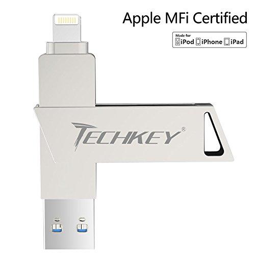 MFi Certified USB Flash Drives for iPhone 32GB Pen-Drive Memory Storage, TECHKEY iOS USB 3.0 External Storage Memory Stick Adapter Expansion for iPad iOS Windows PC MacBook (Silver) (Manual Transmission Mfi)