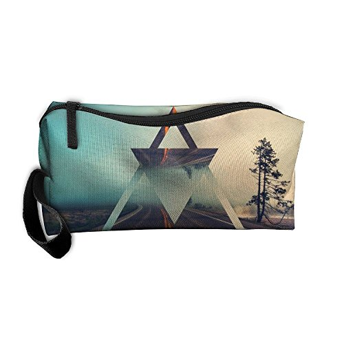 FRTSFLEE Highway Triangle Pencil Case Travel Toiletry Bag Receive Bag Pencil Bag Durable Pouch Zipper Big Capacity Trave Makeup Organizer ()