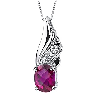 Created Ruby Pendant Necklace Sterling Silver 1.75 Carats