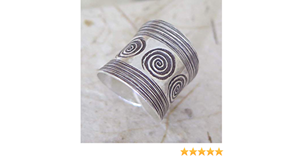 Sterling Silver Wide Adjustable Band Ring Handmade Boho Ethnic Tribal with Engraved Spirals also as Thumb ring for Women or Men